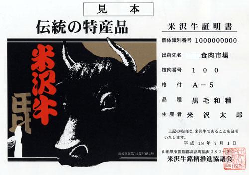 米沢牛購買証明書